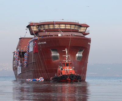 Photo caption: This photo of the sister vessel, Newbuilding 1088 , Bjørg Pauline was taken at the recent vessel launch at Tersan Shipyard. (Photo courtesy of Corvus Energy)