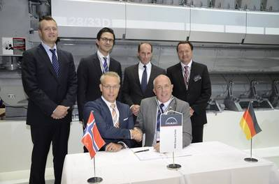 Pictured at the signing ceremony: (standing, from left) Mikael Adler – Managing Director, MAN Diesel & Turbo, Norway; Serghei Nastas – MAN PrimeServ O&M Sales Manager; Dr. Stephan Timmermann – Member of Executive Board, MAN Diesel & Turbo; Stefan Eefting – Vice President, Head of MAN PrimeServ; (seated, from left) Lars-Heine Njåstad – Chief Procurement Officer, DOF; and Wayne Jones – Senior Vice President, Head of MAN PrimeServ Diesel