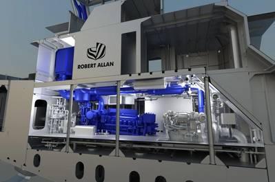 A 3D production model of a Robert Allan Ltd. tug, showcasing a Cat 3516E Tier 4 marine engine with SCR installation. (Image: Robert Allan Ltd.)