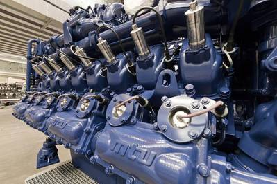 The main propulsion system of the Sembcorp hybrid tug comprises twin 16-cyclinder mtu Series 4000 gas units which will provide a combined total power of 2984 kilowatts. The new engines are part of Rolls-Royce's Green and High-Tech program. Without exhaust gas aftertreatment they emit no sulfur oxides and only very small quantities of nitrogen oxide and particulate mass is below the verification limit. (Photo: Rolls-Royce)