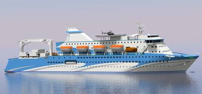 Rendering of the new 1,200-passenger ferry to be built at Cochin Shipyard in India (Image: ABB)