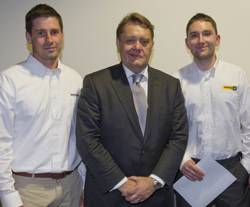left to right:  Sam Reid, Finning Power Systems, John Hayes, John Hayes, Minister of State for Further Education, Skills and Lifelong Learning and Richard Buzza, Finning Power Systems.