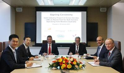 From left to right: Chen Gang, Technical Manager from SDARI, Toshiaki Tanaka, Executive Officer, Deputy Director General, Dry Bulk Business Unit from Mitsui O.S.K. Lines, Steen Lund, Regional Manager South East Asia, India and Pacific from DNV GL – Maritime, Mike Utsler, Chief Operating Officer from Woodside Energy, Abdes Karimi, Freight Operations Manager from BHP Billiton, and David O'Brien, Freight Manager from Rio Tinto Marine, at the signing ceremony (Photo: DNV GL)