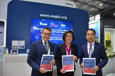 Left to right:  Thomas Hansen, Director, Head of Promotion & Customer Support, for MAN, Dr. Xioazhi (Christina) Wang, ABS Vice President, Global Marine, and Mr. Zhiyong Zhou, SDARI Vice President, at signing of joint development project for a low-emission, ammonia-fueled containment vessel. Photo: ABS