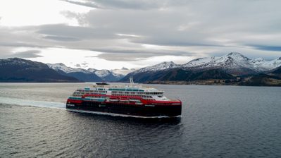 MS Roald Amundsen undergoing sea trials in the waters off Kleven Yard in Norway. Photo: UAVPIC.COM/Tor Erik Kvalsvik/Kleven/Hurtigruten