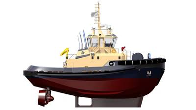 Four Robert Allen/ Rastar 2900 SX terminal tugs from Sanmar will be used in the fleet in the Tanger-Med Port in Morocco, operated by the Danish towage company Svitzer as of 2018. The tugs will each be fitted with two 16V 4000 M73L MTU engines. (Photo: Rolls-Royce)