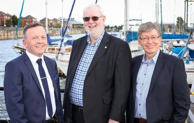 L-R Robert Pollock, Bob Troop and Derek Bate in Coburg Dock (Photo: James Troop)