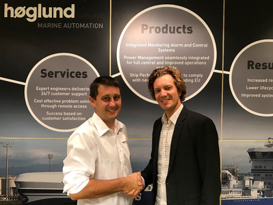 At the signing: Aleksander Beckmann, Aftermarket Sales and Services Manager at Høglund, and Sindre Stemshaug Bornstein, CCO at Yxney Maritime  Photo: Høglund