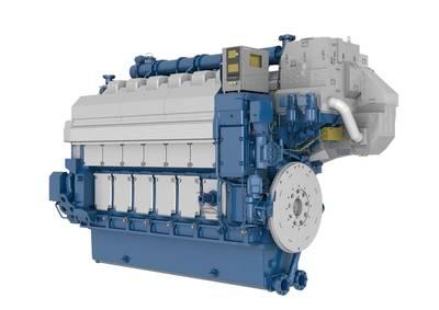 A six-cylinder in-line Wärtsilä 34DF engine. (Image: Wärtsilä)