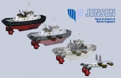 A new Z-Drive hybrid tugboat for Baydelta Maritime is due for delivery in 2019. (Image: Jensen Maritime)