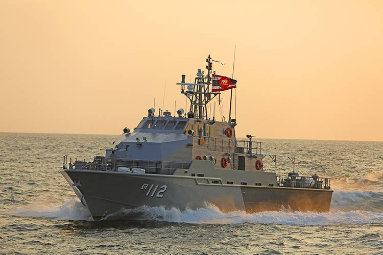 The 36-meter Royal Thai Navy patrol boat in the sunset.