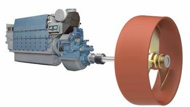 MAN 6L27/38 propulsion package with gear, shafting, three-bladed propeller and AHT nozzle (Image: MAN)