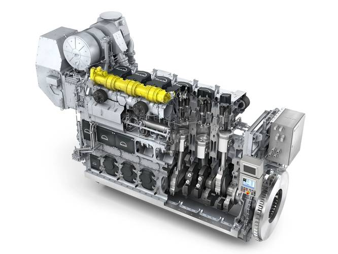 "6L35/44DF"" is also a dual fuel 4-stroke engine capable of running on both marine fuels and gas. (Photo: MAN Diesel & Turbo)"