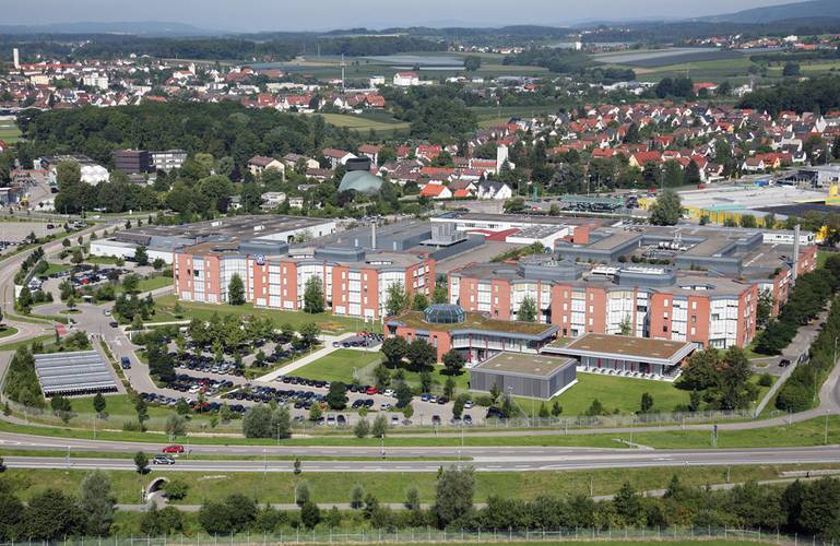 Aerial photo of ZF Friedrichshafen AG, Corporate Research &  Development and Corporate HQ, Friedrichshafen. (Photo: ZF)