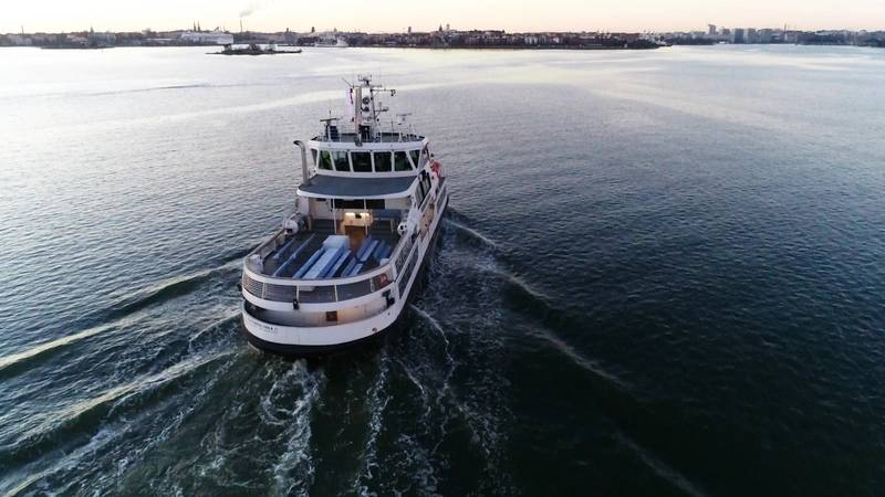 An autonomous ferry during sea trials (ABB)