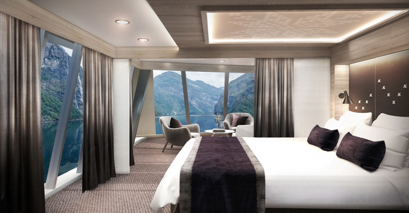 NEW CABINS: All cabins and suites will be renovated. This are the first sketches of the brand new corner-suites at the front of the top deck on board MS Maud and MS Eirik Raude. Photo: HURTIGRUTEN