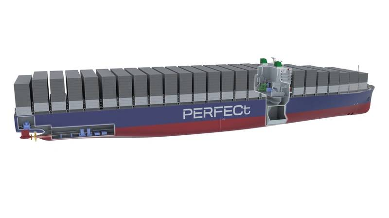Computer model of the proposed LNG COGES-powered 20,000 TEU vessel (Image: DNV GL)