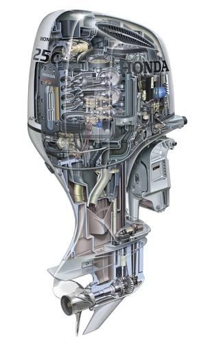 Cutaway view of Honda's BF250 engine