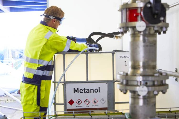 Dubbed 'Blue Methanol', the fuel is recycled from residual steel gases, a by product of the steel production industry and helps reduce the ferry's reliance on diesel. Photographer: Anna Hult