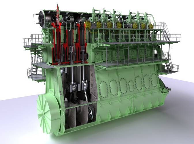 The ME-GI engine has won some 200 or so orders since its introduction to the market. Pictured here, the 9S90ME-GI type (Image courtesy MAN Energy Solutions)