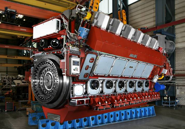 The M 46 DF engine, ready for shipment.