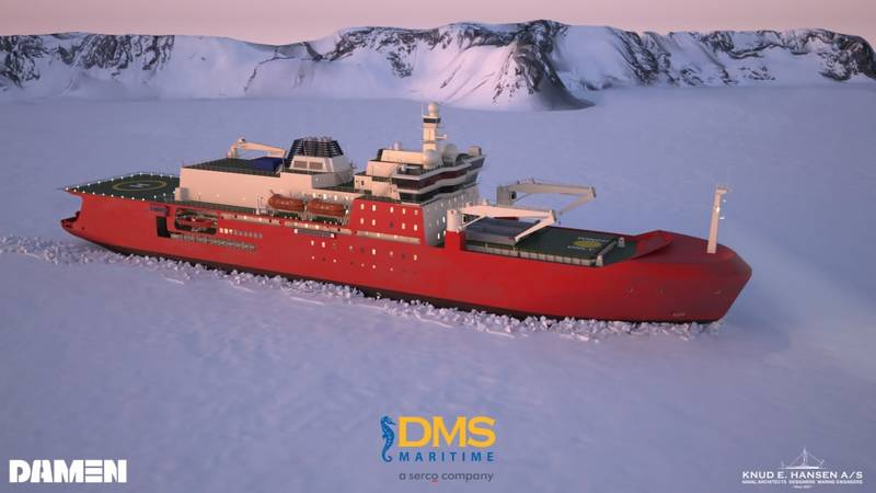 A graphic of the new icebreaker in the ice (Image: Damen/DMS Maritime/Knud E Hansen A/S).