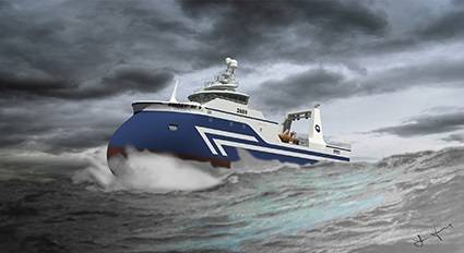 Graphic representations of the Nautic wetfish trawler design for HB Grandi. Each vessel will be powered by an MAN six-cylinder L27/38 unit, accompanied by a four-bladed, 3.8-metre, ducted MAN Alpha VBS 860 propeller (Image courtesy of HB Grandi/Nautic)