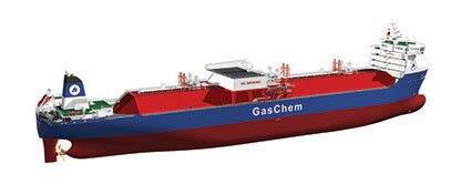Graphical rendering of a 36,000-m3 GasChem ethane carrier featuring an MAN Diesel & Turbo Kappel propeller and rudder bulb, and an MM-Offshore EMPRESS rudder (Image: MAN Diesel & Turbo , courtesy Hartmann Reederei)