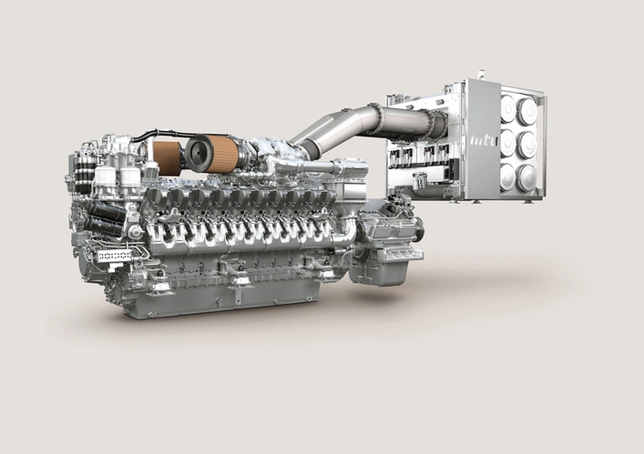 The high-performance Series 4000 engines for yachts are modified slightly to meet IMO Tier III and launched on the market with MTU's SCR system. The engines will be available as 12, 16 and 20-cylinder versions for a power range extending from 1,920 to 3,900 kW. (Photo: Rolls-Royce)