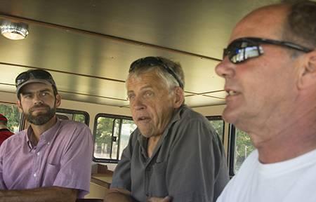 Lummi Island Wild's reef net manager Ian Kirouac, president Keith Carpenter and Mavrik's sea trial captain Chuck Albertson