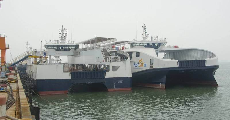 Two of the Philippine ferries alongside at the fitting-out dock.
