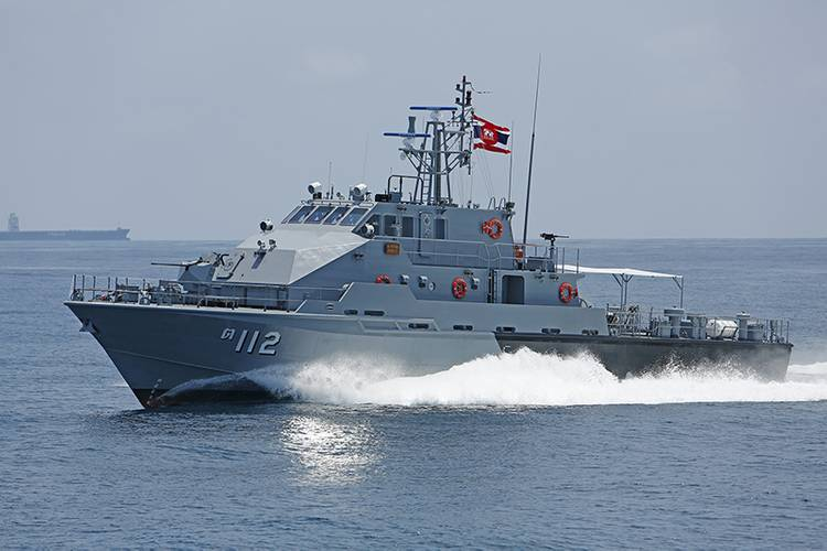 A port-side view of the 36-meter patrol boat.