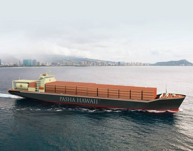 Rendering of the new Pasha Hawaii containership (Image courtesy Pasha Hawaii)