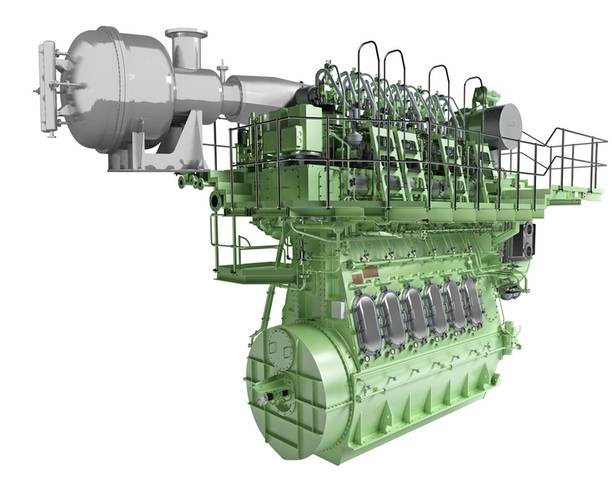 Rendering of the SCR-HP reactor with a host two-stroke engine (Image: MAN Diesel & Turbo)