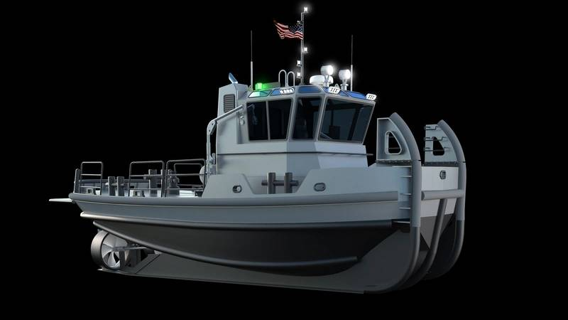 Rendering showing tug above and below the waterline (Image courtesy of the U.S. Navy)