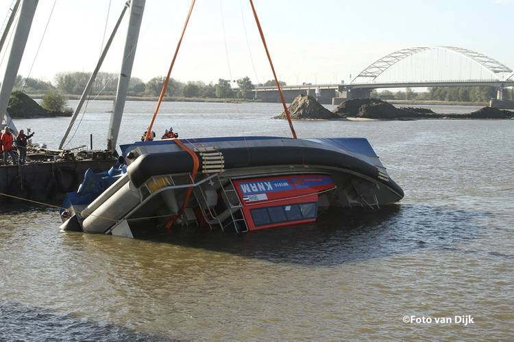 The rescue vessel Nh 1816 is rolled over during a recent test with KNRM.