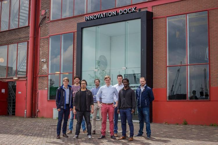 Left to right: Kees Custers, Research Engineer Damen Shipyards Gorinchem; Vincent Wegener, Managing Director RAMLAB; Wei Ya, Postdoctoral Researcher RAMLAB; Constantinos Goulas, Postdoctoral Researcher RAMLAB; Max van der Zalm, Design Engineer Damen Schelde Naval Shipbuilding; Don Hoogendoorn, Principal Research Engineer Damen Shipyards Gorinchem; Kelvin Hamilton, Technical Consultant Autodesk; and Laurens van Ballegooy, Sales Manager Promarin (Photo: RAMLAB/Damen)