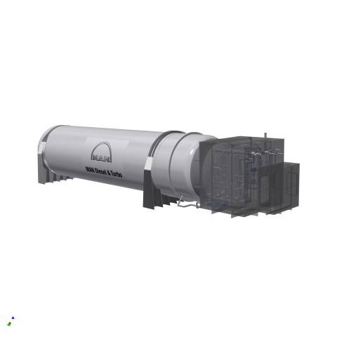 Rendering of the MAN Cryo 350 m³ vacuum-insulated, cylindrical type C tank and coldbox. (Image MAN D&T)