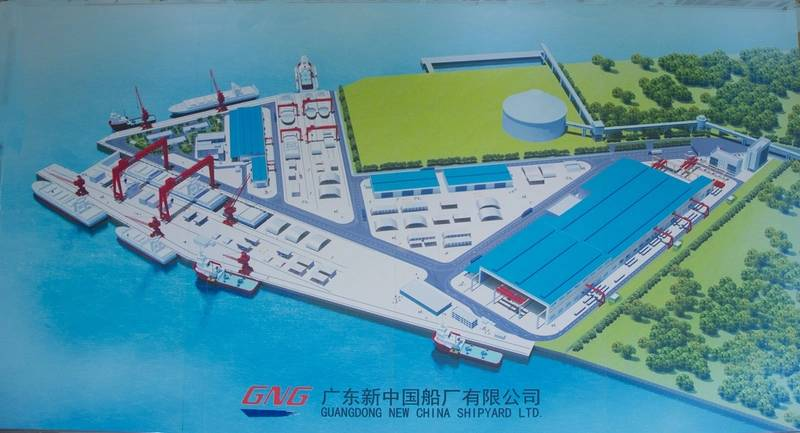 A schematic view of the Guangdong Bonny Fair Heavy Industry Ltd. Shipyard (formerly Guangdong New China Shipyard Ltd.) The two assembly lines with the floating drydock are top center.