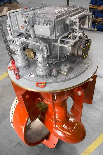 Schottel's azimuthal hybrid drive system SYDRIVE-E. Image courtesy Schottel
