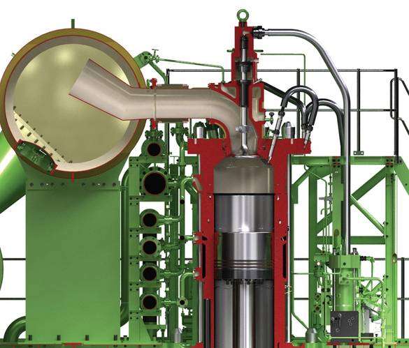 Sectional view of the ME-CI injection system. ©MAN ES