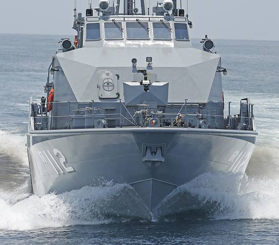 A view of the bow shows the functionality of the crew boat hull.