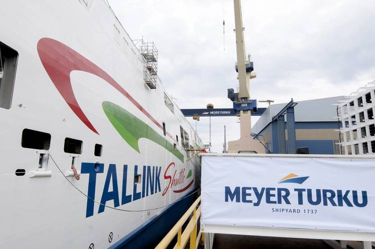 Tallink LNG Shuttle Megastar Naming - the ship's side (Photo: Meyer Turku)