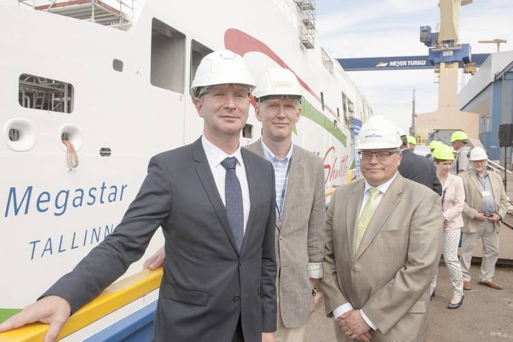 Tarvi-Carlos Tuulik, AS Tallink Grupp; Andres Lepik, AS Tallink Grupp; and Kari Toivonen, Meyer Turku (Photo: Meyer Turku)