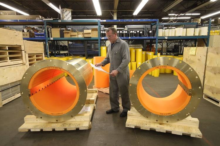 Thordon COMPAC seawater lubricated propeller shaft bearings fitted to bronze carriers