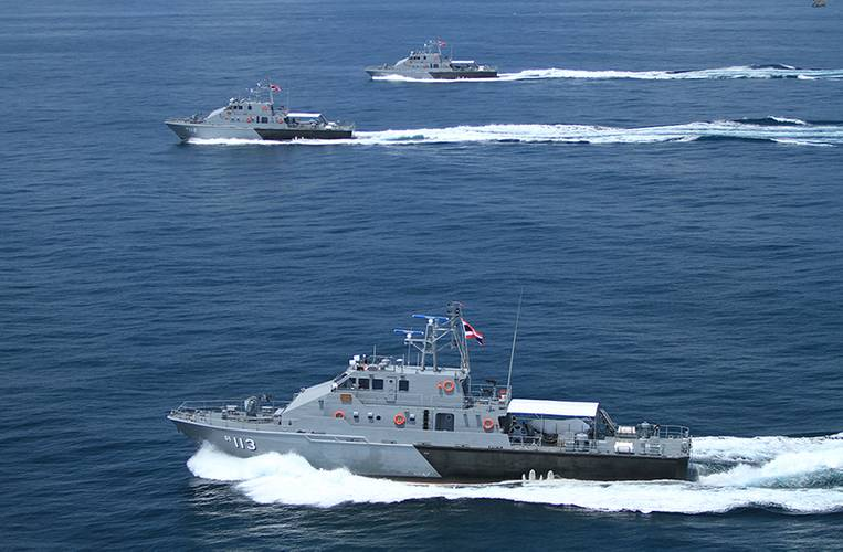 All three of the 36-meter patrol boats in formation.