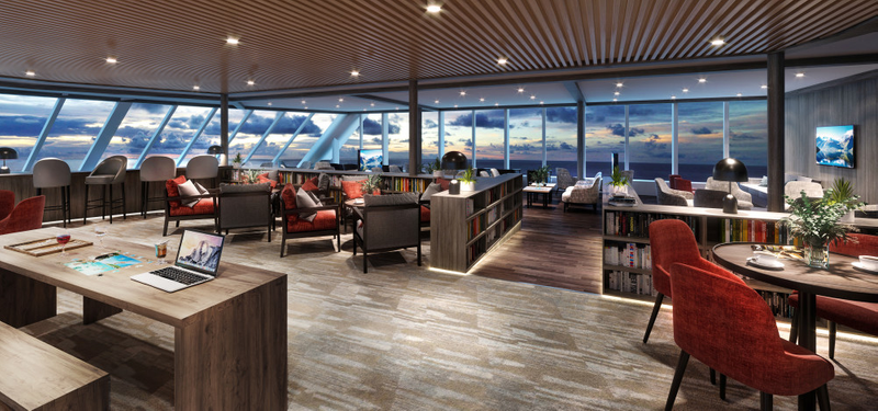 TOTAL UPGRADE: The three ships will receive a total makeover. This will be the new Explorer Lounge on MS Maud and MS Eirik Raude. Photo: HURTIGRUTEN