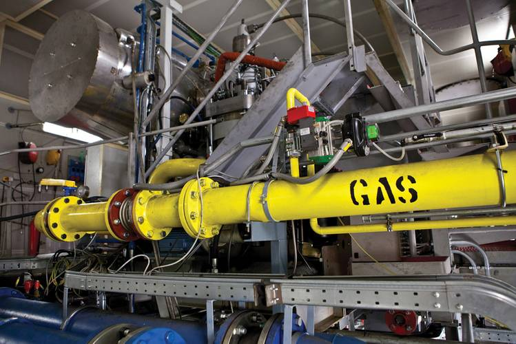 The new two-stroke gas engine design was developed within Wärtsilä's global R&D function. The design was carried out jointly at Winterthur, Switzerland and Vaasa, Finland. The Wärtsilä engine laboratory located in Trieste in Italy was the site for test installation as it has gas supplies.