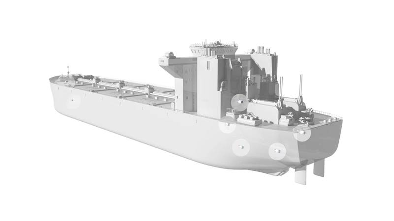 The various locations that water-cooled motors can be found on a ship. Image: ABB