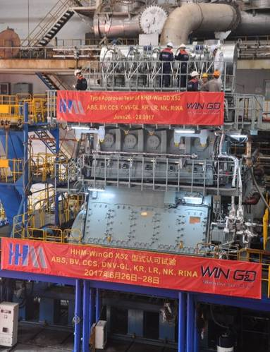 The WinGD 5-X52 diesel undergoing its FAT and TAT at the works of Hudong Heavy Machinery in Shanghai. (Photo: WinGD)